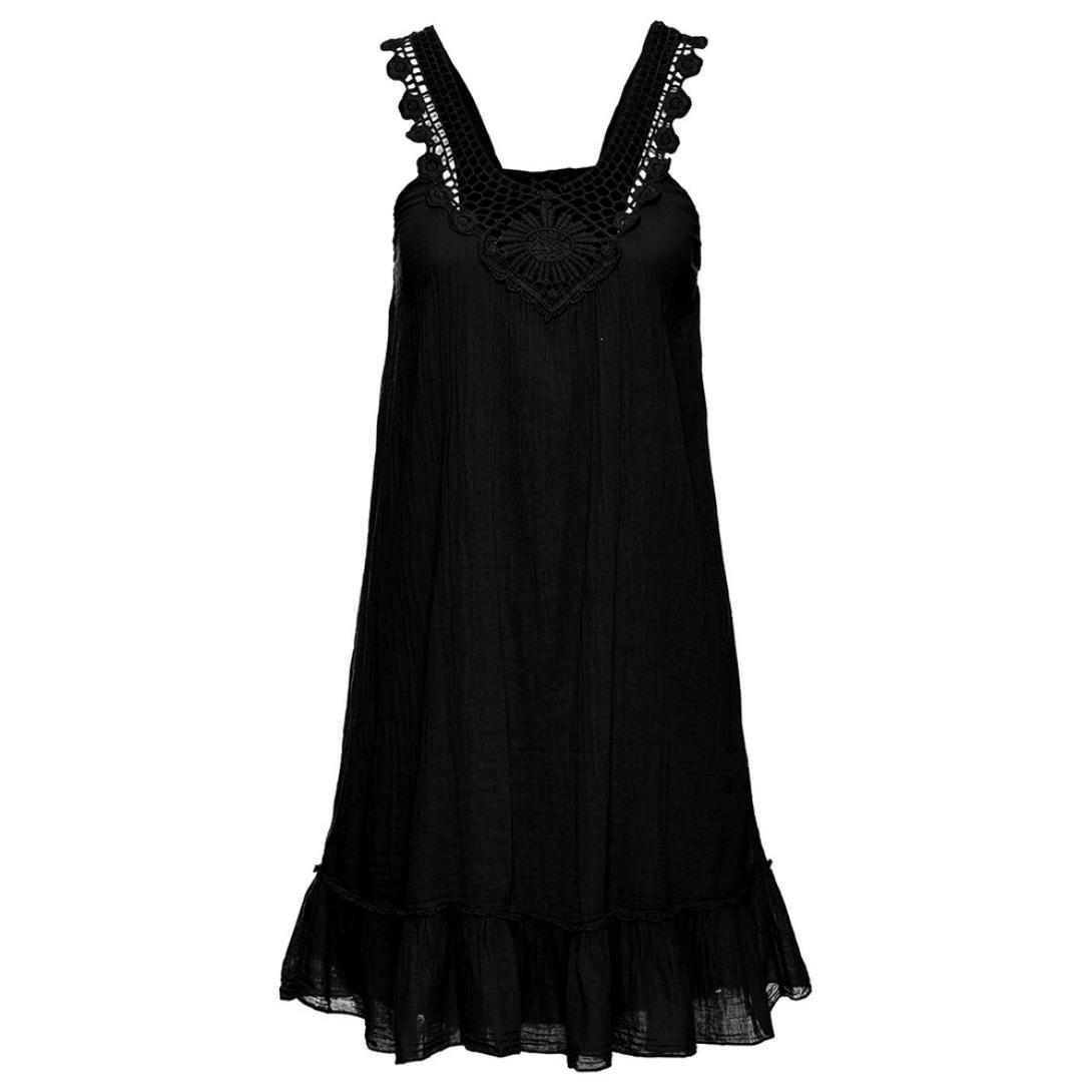 Vestidos Mujer Verano 2018,Mujer sexy encaje patchwork backless sin mangas volantes dobladillo mini vestido LMMVP (Negro, M): Amazon.es: Hogar