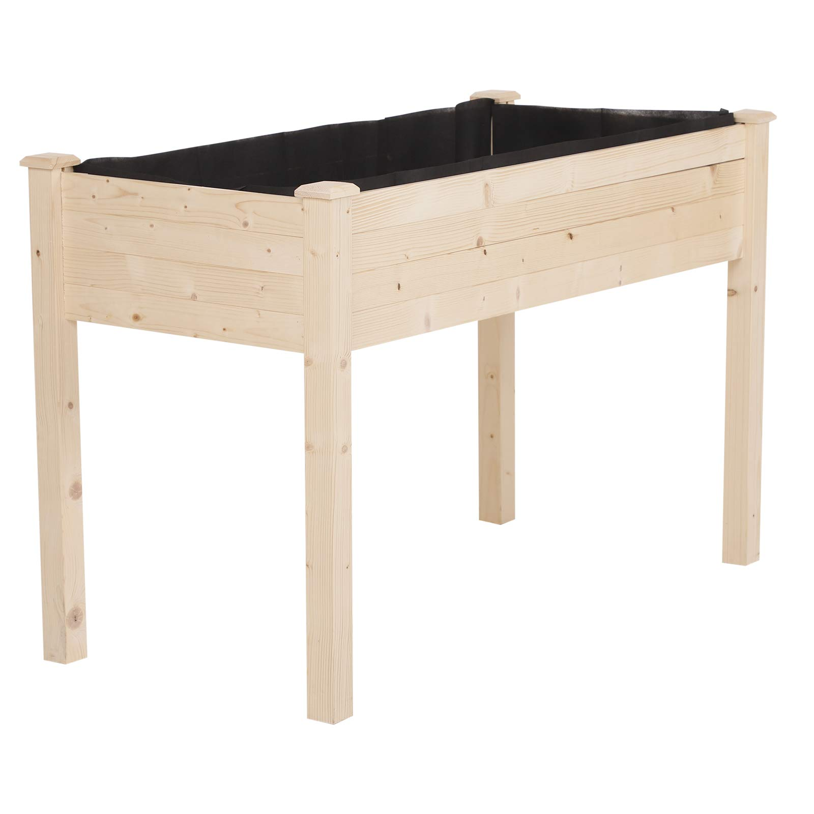 Outsunny Garden Wood Raised Elevated Bed 48x22x30in Vegetable Planter Outdoor