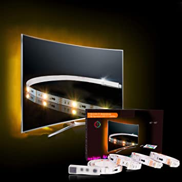LED TV Backlight, RGB LED Strips 2M/6 56ft USB TV Bias Lighting for 40 to  60 in HDTV Neon Light with Remote TV Light Strip