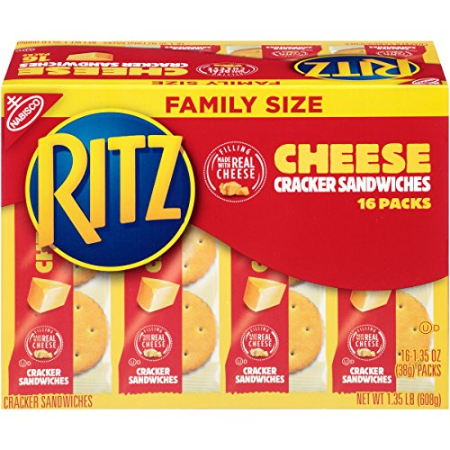 Ritz Bits Sandwiches - Ritz Cheese Cracker Sandwiches Snack Packs, Family Size, 16 Count Box, 1.35 Ounce