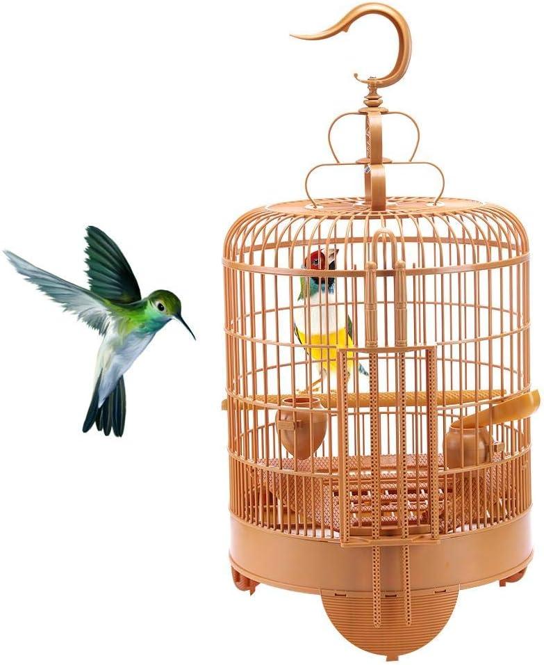 Nueva jaula de pájaros para el portador de viaje Budgie Parrot Jaulas de pájaros Colgando Portátil redondo con almohadillas para pies elevadas, vasos de plástico, cuchara de alimentación, palo de pie