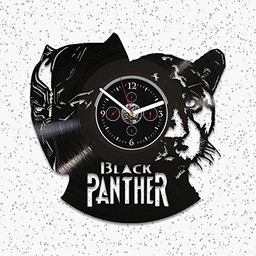 Black Panther Vinyl Wall Clock, Gift Black Panther, Wall Clock Vintage, Marvel Comics Clock, Black Panther Gift, Birthday Gift Kids, Black Panther Clock, Vinyl Record Wall Clock, Clock Black Panther