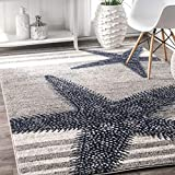 coastal living rooms 4' x 6' Starfish Coastal Beach Ocean Decorative Stripes Grey Blue Area Rug, Polypropylene Modern Contemporary Star Fish Animal Sea Nautical, Indoor Rectangle Living Dining Room Bedroom Accent Carpet