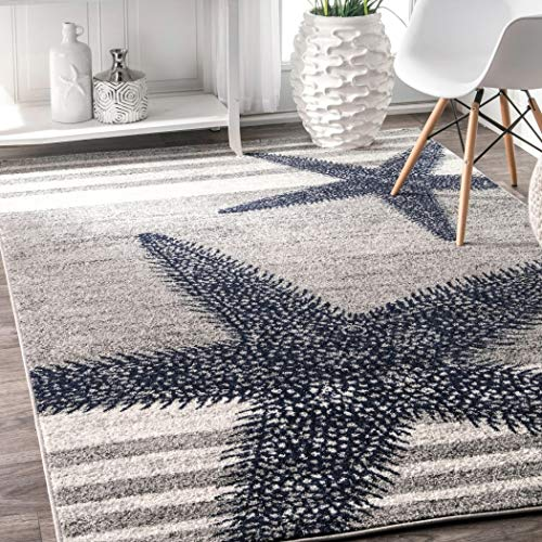 (4' x 6' Starfish Coastal Beach Ocean Decorative Stripes Grey Blue Area Rug, Polypropylene Modern Contemporary Star Fish Animal Sea Nautical, Indoor Rectangle Living Dining Room Bedroom Accent Carpet)
