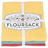 Now Designs Floursack paños de Cocina, Conjunto de Tres, Azul Rey/Blanco, Lemon Yellow/Turquoise/Grenadine Red, 1