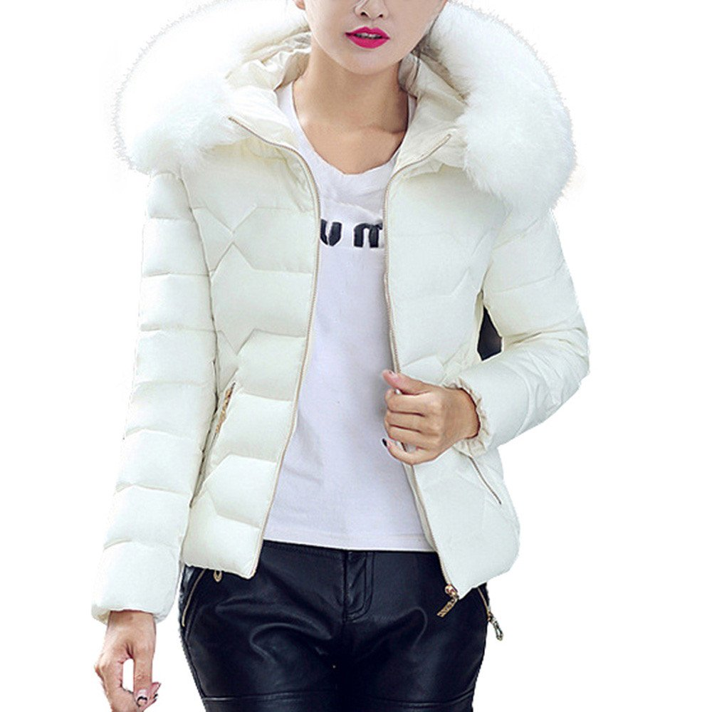 Clearance!! Women Zip Up Down Coat,Lelili Winter Thick Warm Long Sleeve Faux Fur Hooded Coat Outwear Jacket With Pockets (White, L)