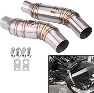 Qiilu 51mm Motorcycle Slip On Exhaust Middle Link Pipe Adapter Connector for Kawasaki Z1000 2010-2014