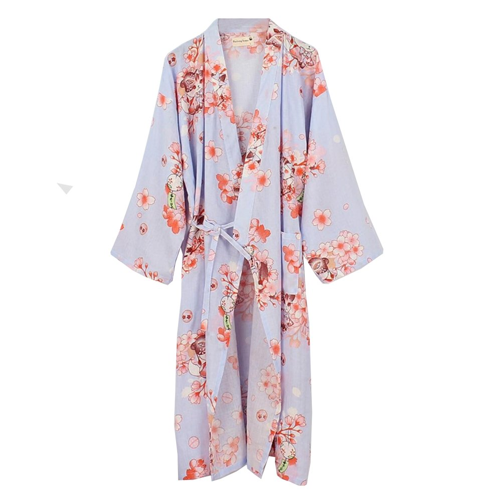 Fancy Pumpkin Japanese Womens Robe Cotton Dressing Gown Kimono Pajamas Nightgown Size L