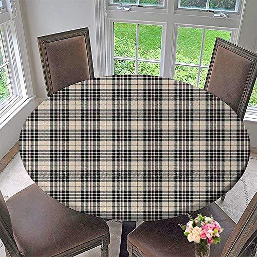 Mikihome Modern Table Cloth Tartan Pattern British Clan Royal Vintage Heraldry Design Beige Dark Taupe Maroon Indoor or Outdoor Parties 63