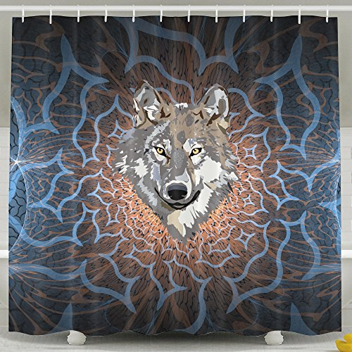 Memoy Wild Wolf Mildew Resistant Bathroom Shower Curtain For Home Traval Hotel With Hooks 7278inch (Halloween 2 Theme Tune)