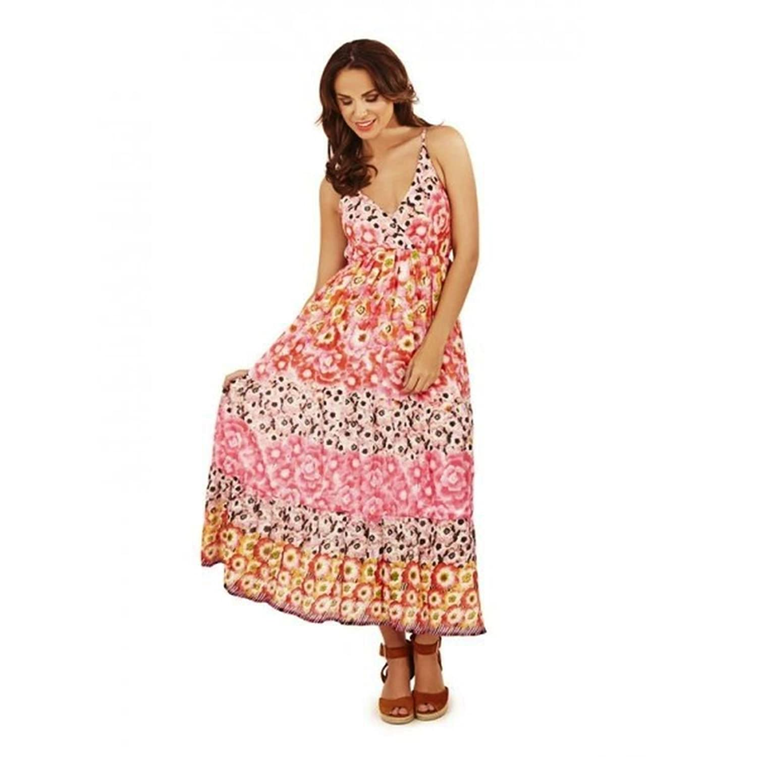 Pink & Red Floral Empire Dress Summer Beach Gypsy Sundress Maxi