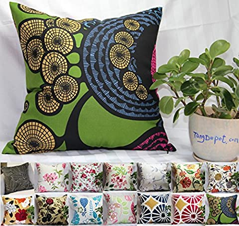 TangDepot 100% Cotton Floral/Flower Printcloth Decorative Throw Pillow Covers /Handmade Pillow Shams, 14 Color and 10 Size options, Light Black, Peach Blossom, Red Rosebush, Red And Green Leaf, White Magnolia, Fantastic Flowers, Chrysanthemum, Peony, Red And Navy Flower, Blue Floral, Pink Floral, Blue Wheel, Red Wheel, Tree Rings, 12