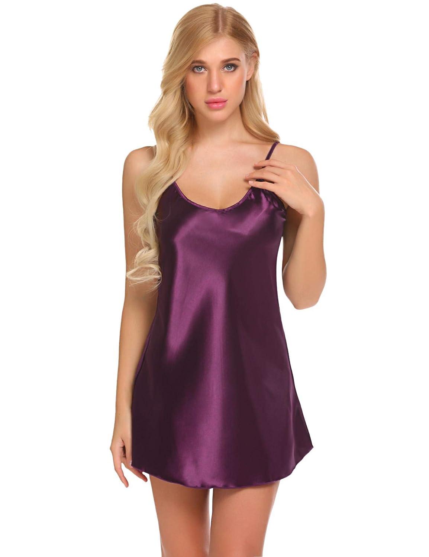 wearella Women Nightwear Satin Nightgown Classic Slip Lingerie Negligee Short Chemise Sleepwear