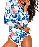 Funnygirl Womens Fashion printing Rashguard Long Sleeve Zip UV Protection Print Surfing Swimsuit Swimwear Bathing Suits, Floral, S(US:2-4)