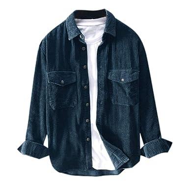 ღLILICATღ Camisas Casual Chaquetas Hombre Otoño Moda Pana Abrigo ...