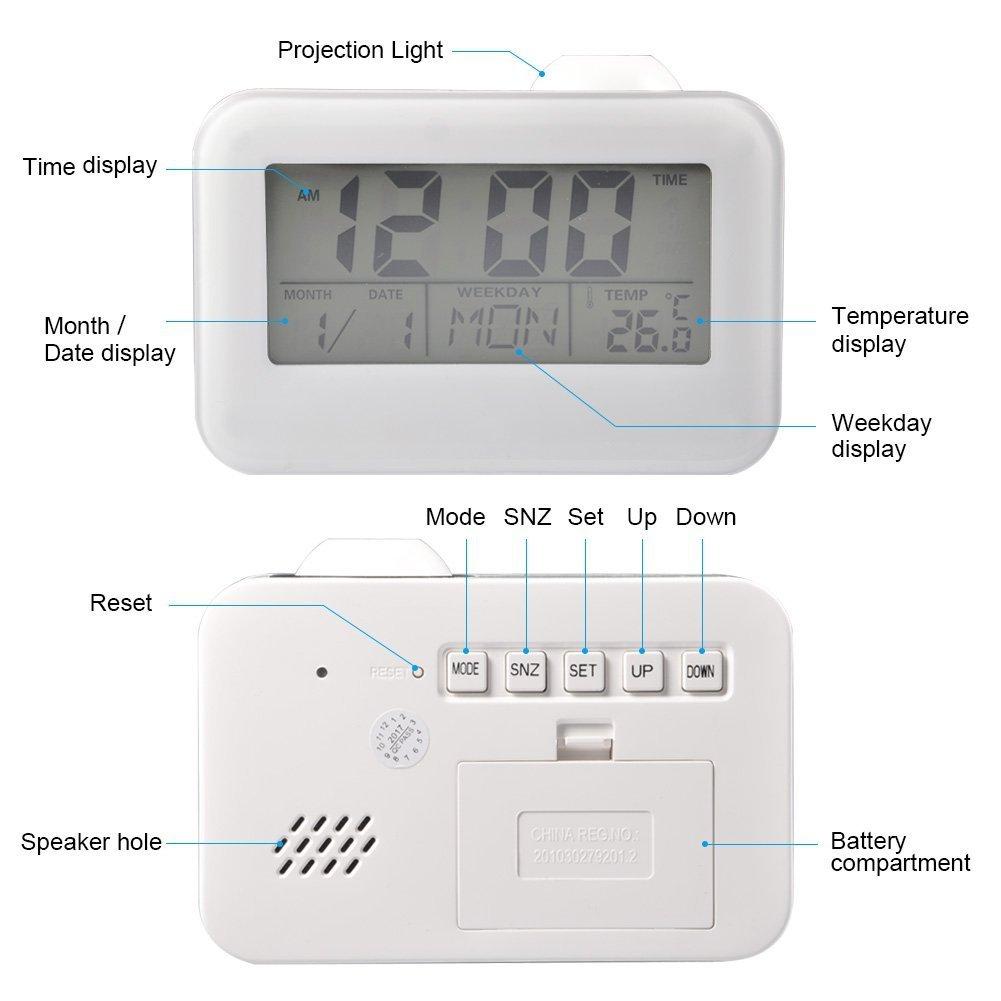 Orologio Digitale di proiezione Radiosveglia LED sonante Reveille-Matin con Funzione Snooze Temperatura Digitale e retro/éclairage Mostra Calendario Suona Le Ore