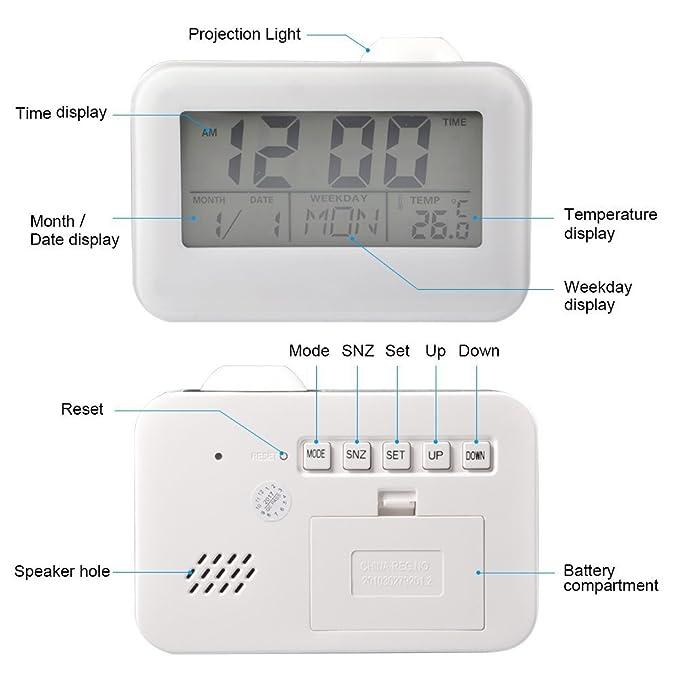 Relojes de Proyección Pantalla LCD Reloj Despertador con Temperatura Fecha Calendario Control de Voz Proyección de Techo Reloj Digital: Amazon.es: Hogar