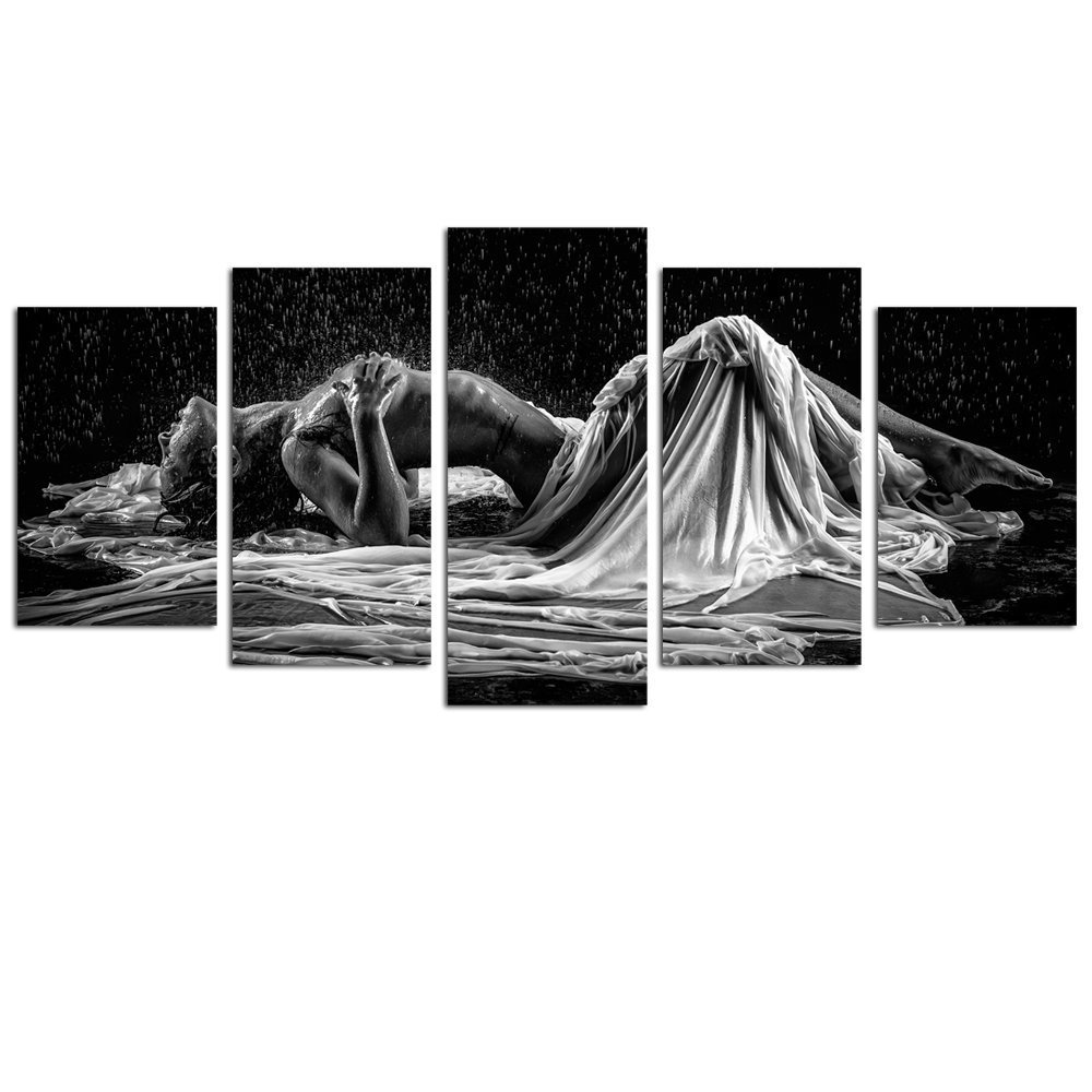 Sea Charm- Sexy Woman Canvas Wall Art Black and White Portrait Photo Naked Girl in Rain Canvas Prints,Modern Bedroom Hotel Wall Decoration Artwork Framed Ready to Hang