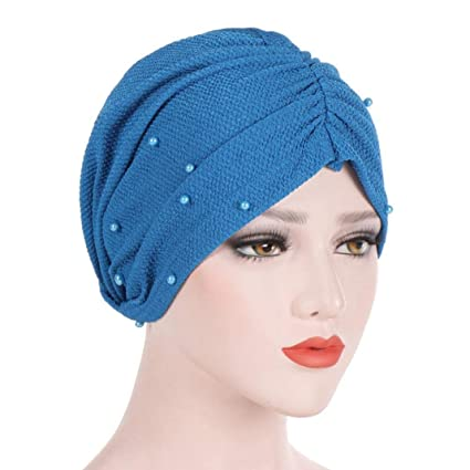 Women Muslim Hijab Headwear Solid Color Beads Decor Turban Hijab Bandana Cap Elastic Bonnet Head Wrap