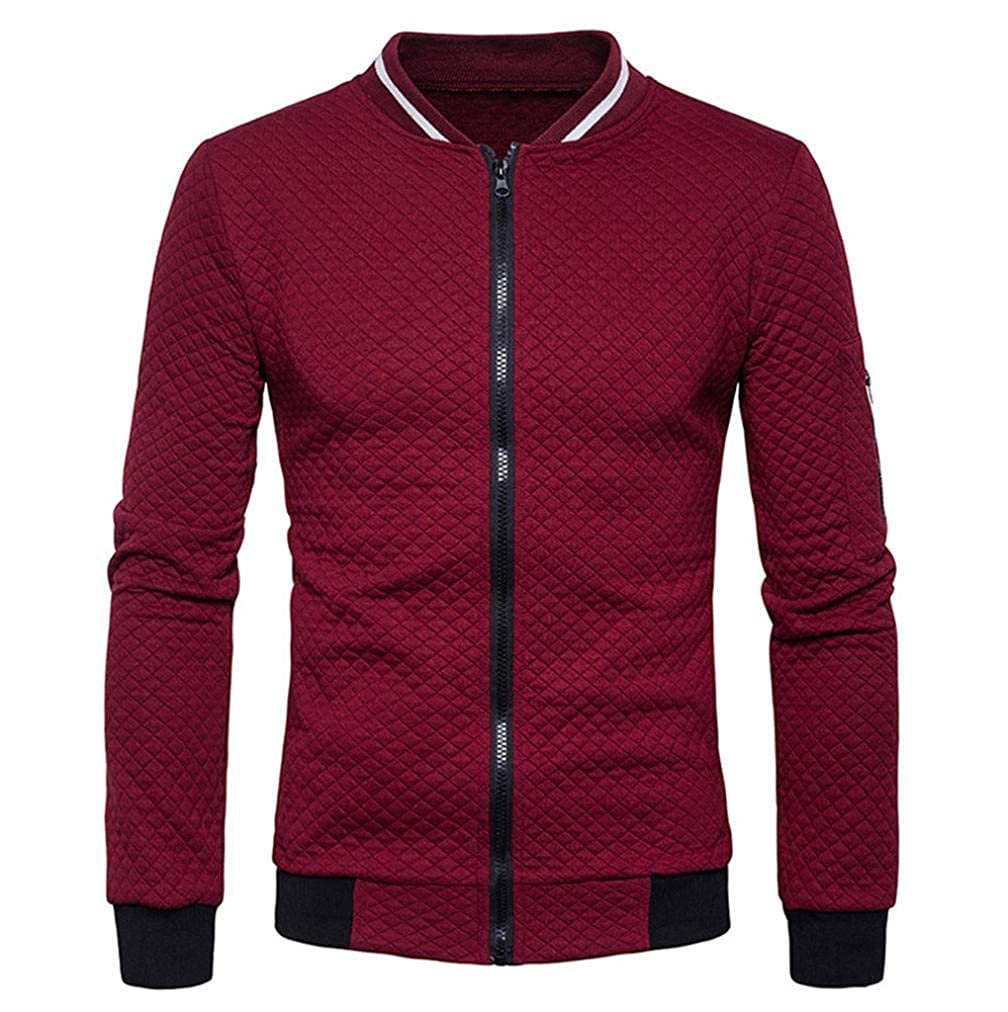 Mens Baseball Jacket Full Zip Up Long Sleeve Diamond Cardigan Fashion Solid Coat iQKA-men-1601