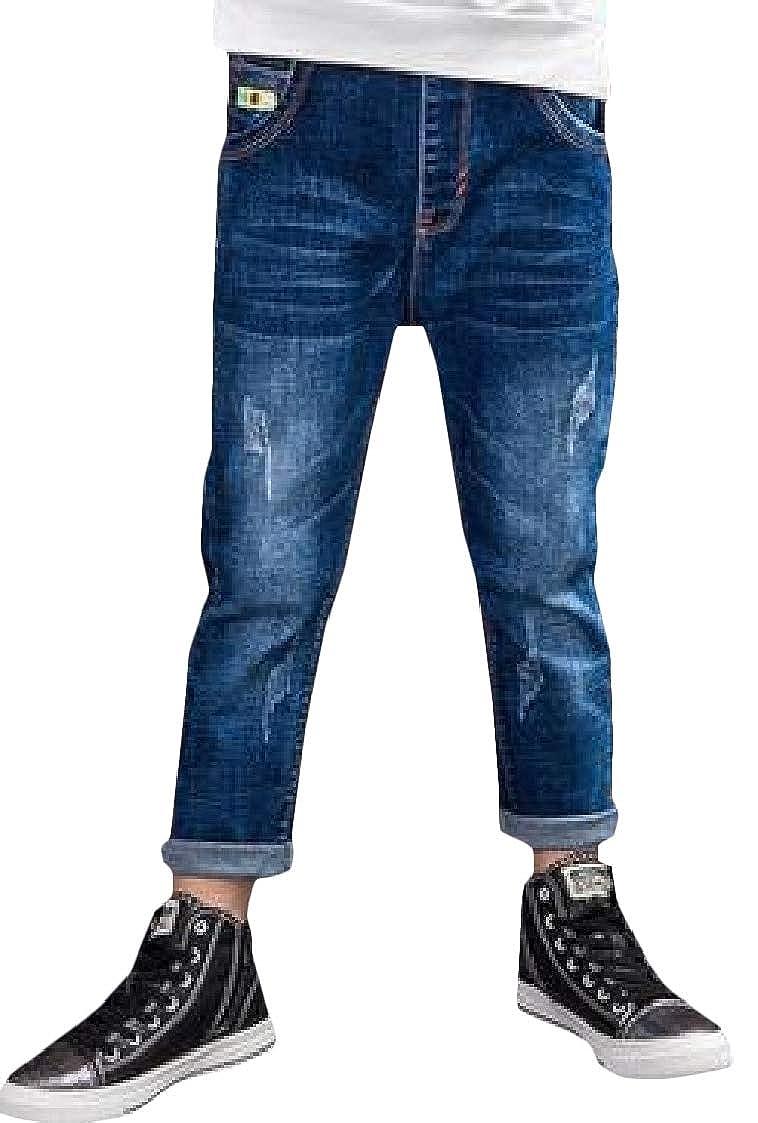 Pandapang Boys Fashion Hole Elastic Waist Jeans Slim Pants