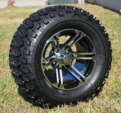 ned/Black Golf Cart Wheels and 23x10.5-12 All Terrain Golf Cart Tires - Set of 4 ()