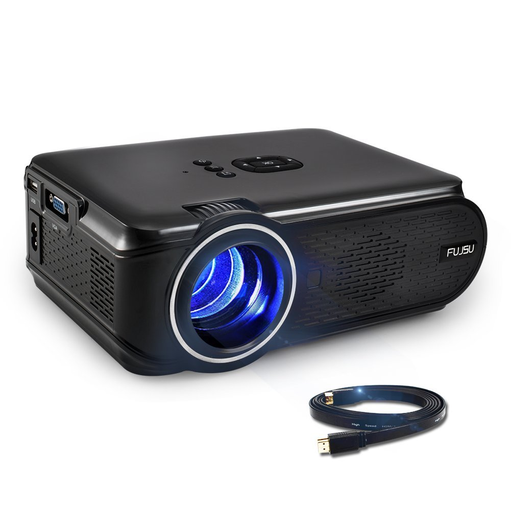 Video Projector, FUJSU 1500 Lumens HD Outdoor/Indoor Mini Home LED Projector with Free HDMI Support 1080P for Home Cinema Theater TV Laptop Game SD iPad iPhone Android Smartphone by FUJSU