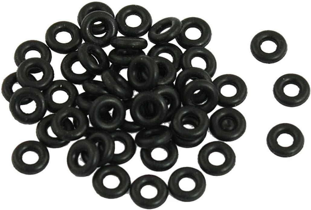 Neu Schwarz 7mm x 3mm x 2mm 3g O-Ringe Dichtringe Lochscheibe 50 St/ück