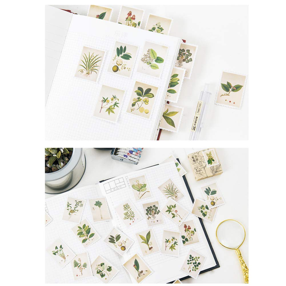Forest Theme 138 Pcs//3 Sets Post Stamp Stickers Retro Cute Plants//Animals Decorative Sticker Square Adhesive Sticker Envelope//Bag Seal by EORTA for Diary Planner Bottles Scrapbook DIY Craft Gift