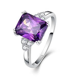 Bonlavie 925 Sterling Silver Square Cut Cz Created Purple Amethyst Women's Engagement Ring Size 7.5