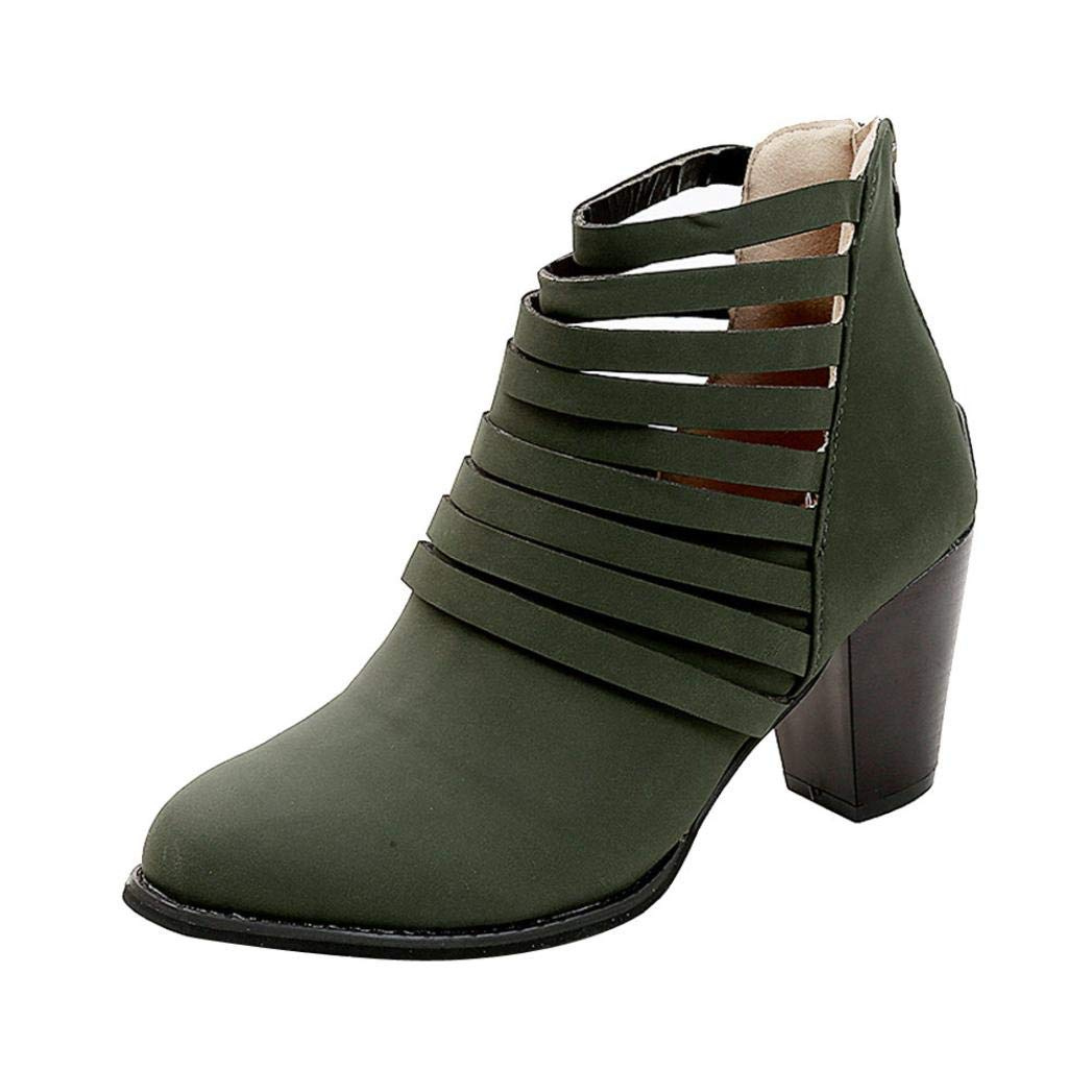 Anxinke Fashion Close Toe High-heeled Bootie Cut-Out Chunky Heel Ankle Boots for Women (6 B(M) US, Green)