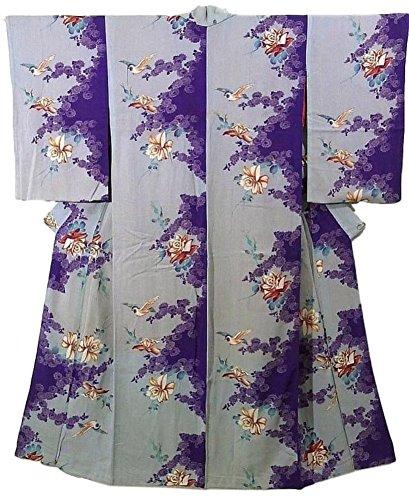 チェスをする評価バックグラウンドアンティーク 着物 青い小鳥 薔薇 菊の花 裄61cm 身丈147cm