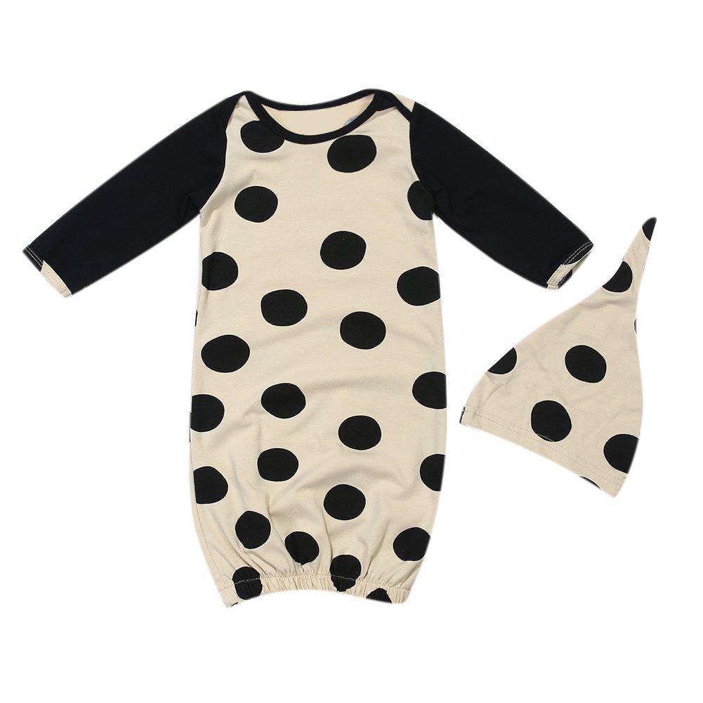Traje de dormir para bebé recién nacido de Domybest, consta de dos piezas: saco de dormir de manga larga con estampado de puntos negros y gorra negro negro ...