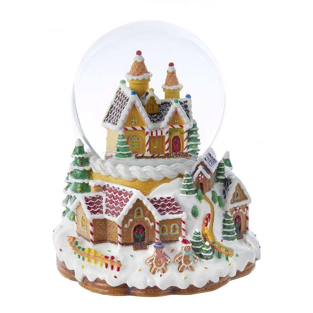 Kurt Adler Battery Operated Musical Light-Up Snowing Candy House Water Ball Globe, 120mm