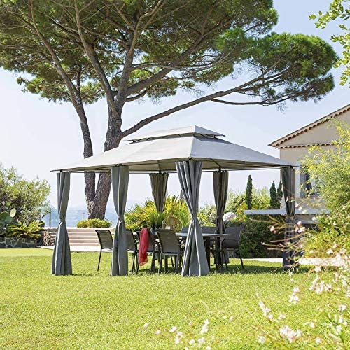 Hespéride - Cenador de jardín Thira - L 4 x L. 3 m – Gris Pizarra ...