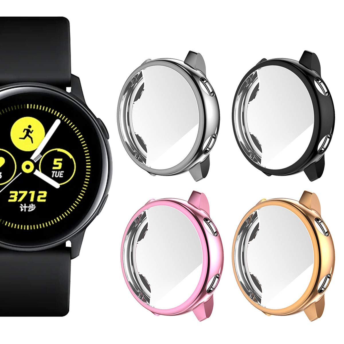 Landhoo Screen Protector for Samsung Galaxy Watch Active, Soft TPU Full Coverage Case, Electroplate Protective Cover Shell (Black+Grey+Rose Gold+Pink)