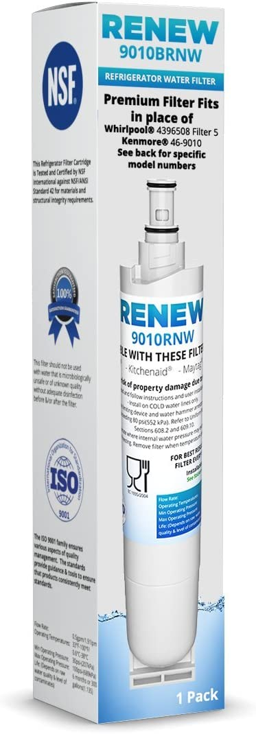 Renew Compatible Replacement for Whirlpool 4396508, 4396510, EDR5RXD1, NLC240V, Kenmore 9085, Kitchenaid, Maytag, and Whirlpool Side By Side Refrigerator Water Filter