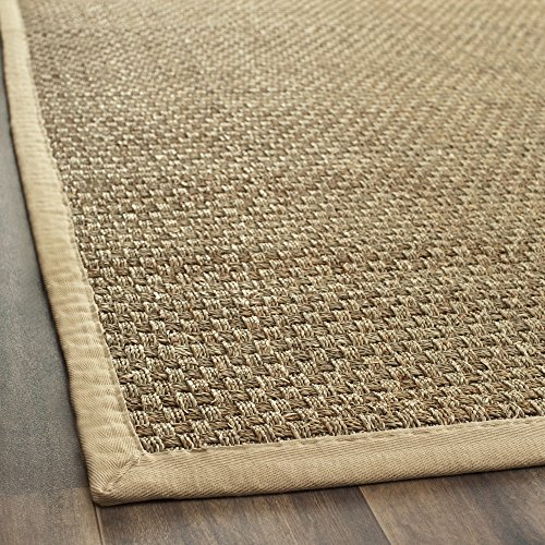 Safavieh Natural Fiber Collection NF114A Basketweave Natural and Beige Seagrass Area Rug (2'6