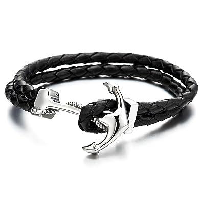 1f595cf90b2 COOLSTEELANDBEYOND Ancre Bracelet en Acier Inoxydable pour Homme Femme -  Bracelet en Noir Tressé Cuir -