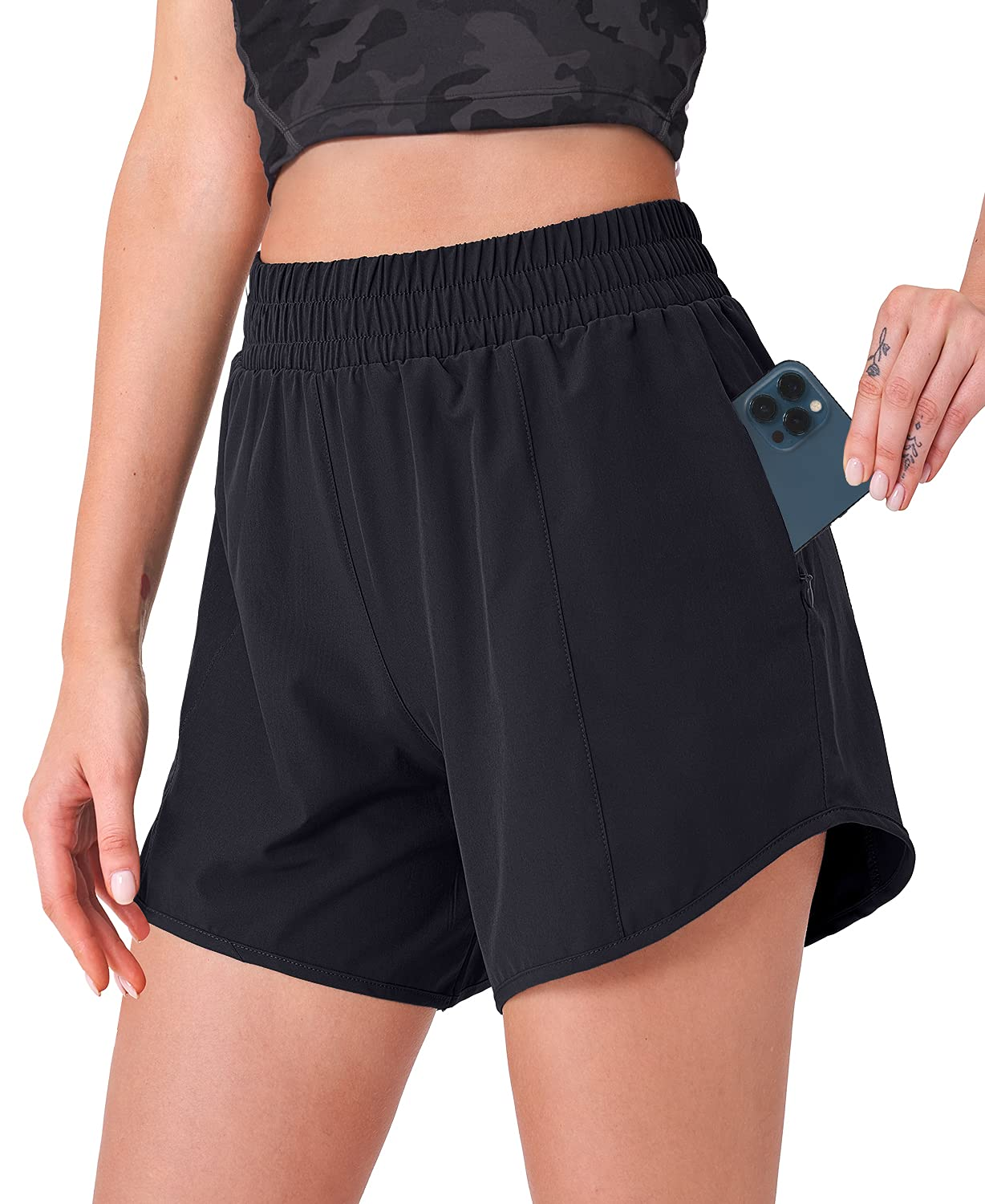 CELER Womens Running Shorts Quick Dry Workout Shorts with Phone Pocket Elastic