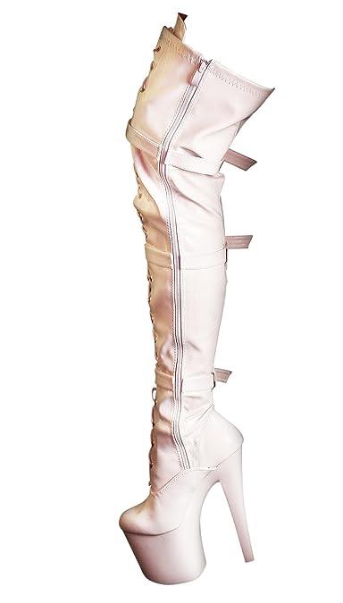 ddefece16c92 RUBY-FASHION Sexy Plateau Overknee Lack Stiefel Extrem Hohe High Heels  Lackstiefel Boots   Weiß