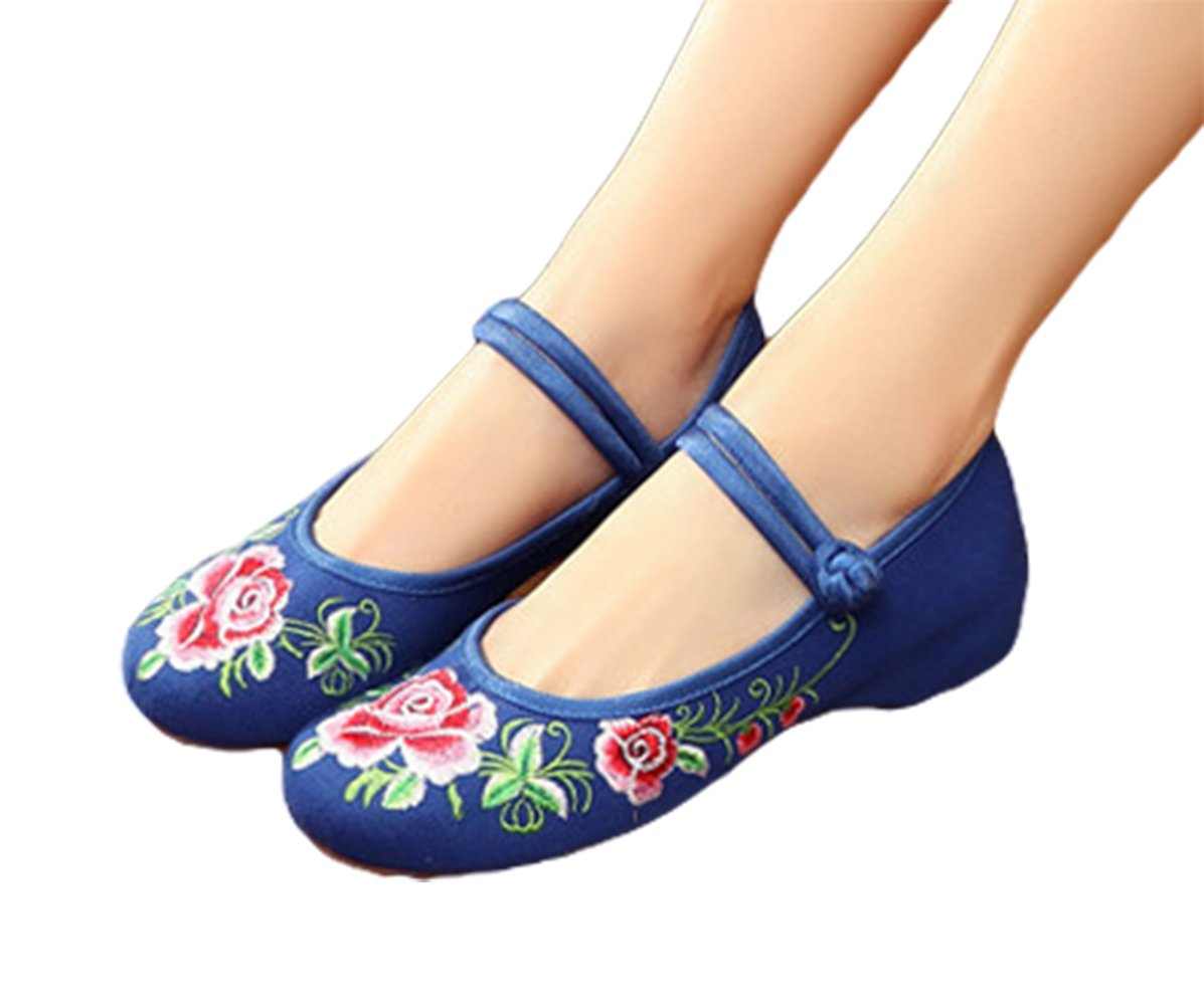 AvaCostume Embroidery Womens Flats Rubber Sole Casual Mary Jane Shoes Blue 39