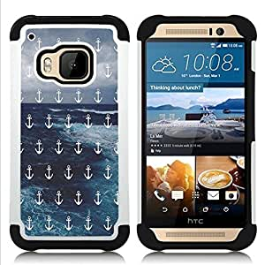- Anchor Boat Pattern - - Fulland Deluxe Hybrid TUFF Rugged Shockproof Rubber + Hard Case Cover FOR HTC One M9 Queen Pattern