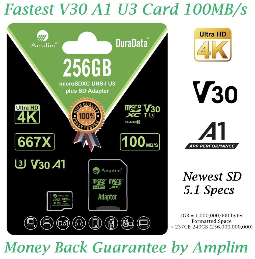 256GB Micro SD Card Plus Adapter. Amplim MicroSD SDXC Memory Card Pack (100MB/s 667X V30 A1 Class 10 U3 UHS-I) 256 GB MicroSDXC TF Card Flash - Cell Phone, Drone, Camera, GoPro, Fire, Nintendo, DJI by Amplim