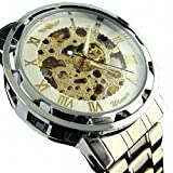 YouYouPifa Skeleton Dial Stainless Steel Strap Automatic Self-Wind Mechanical Men's Watch (White & Gold)