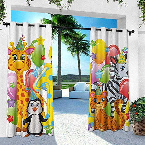 Hengshu 1st Birthday, Outdoor Privacy Porch Curtains,Kids Party with Baby Safari Animals Zebra Lion Balloons Backdrop Colorful, W120 x L84 Inch, Multicolor