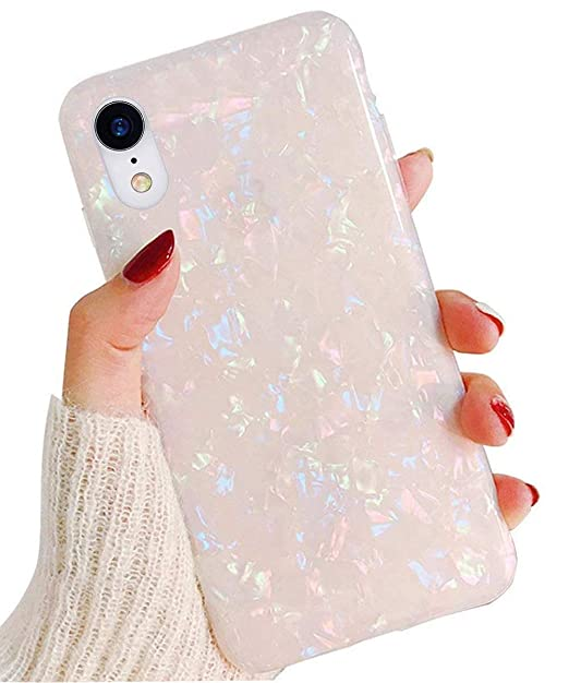 Compatible I Phone Xr Case For Girls Women, Gyzcyq Cute Phone Case Glitter Pretty Design Protective Shockproof Pearly Lustre Shell Slim Soft Tpu Cover Compatible For I Phone Xr Case (Colorful) by Gyzcyq