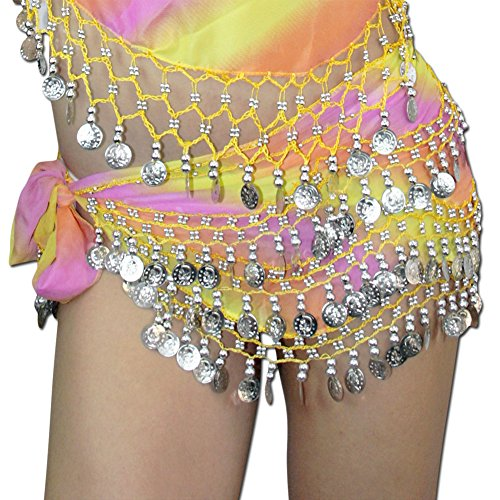 [Sunset Print Belly Dance Hip Scarf Wrap Belt Tribal Sash Skirt w/ Silver Coins Halloween Costume] (Silver Dance Costume)