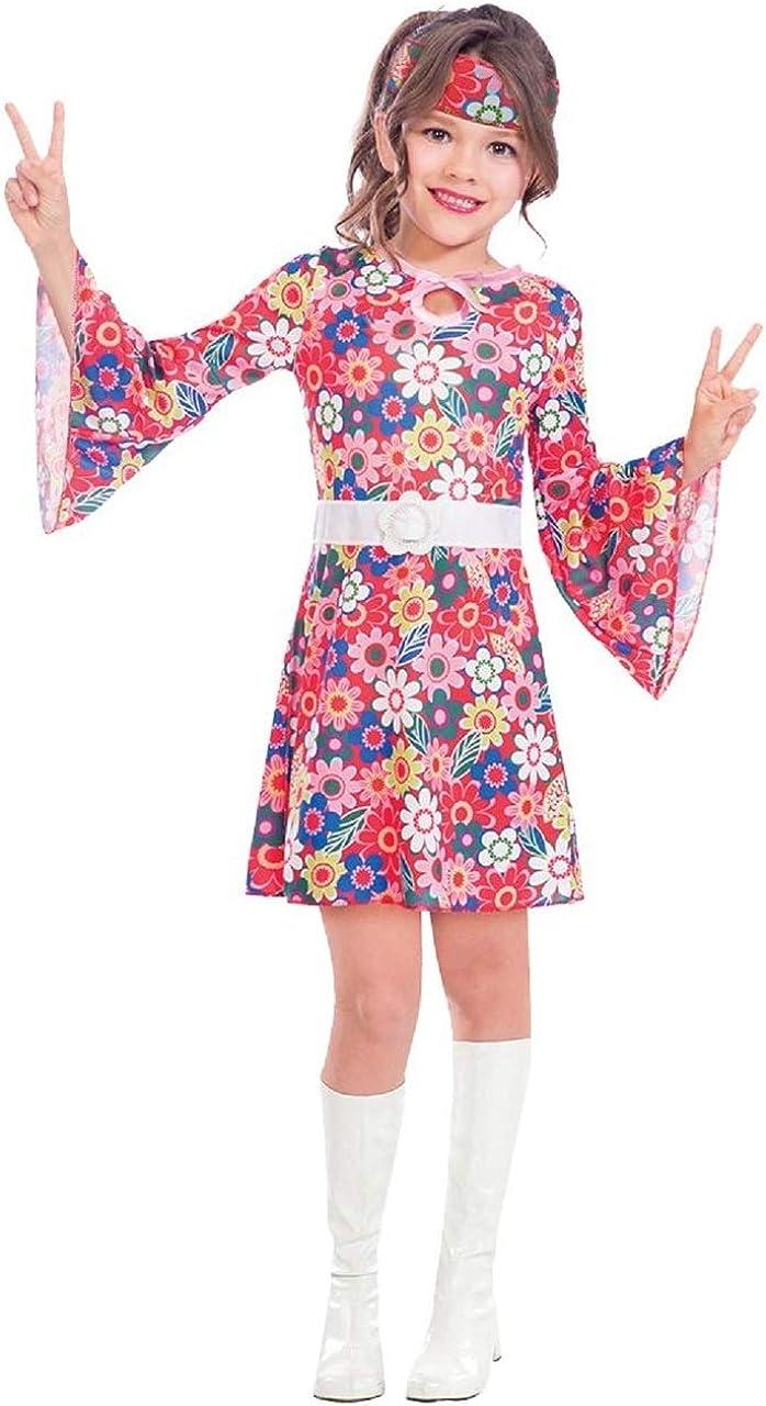 Ladies Black Floral 60s 70s Retro Go Go Girl Hippy Hippie Fancy Dress Costume