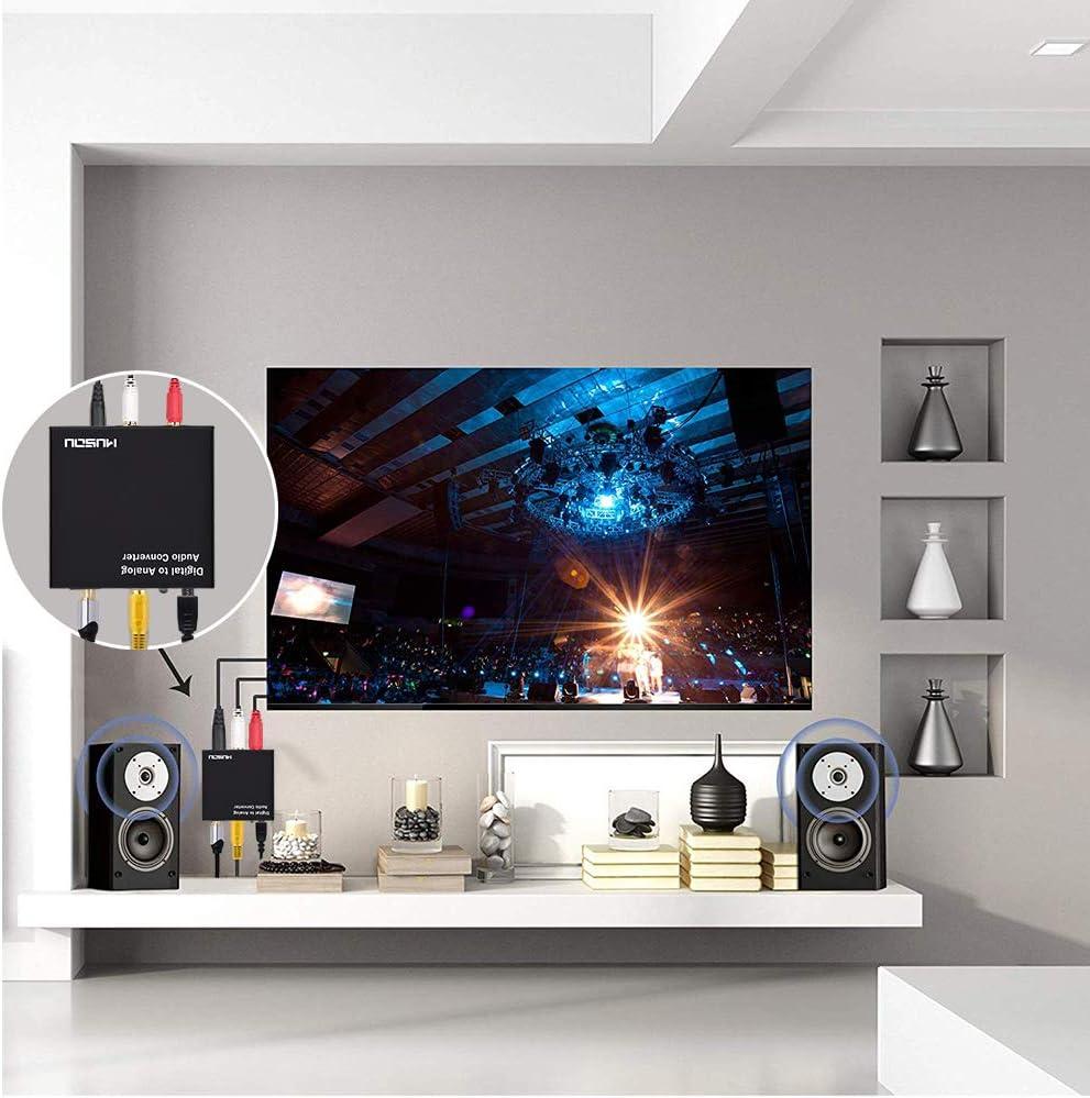 Musou DAC de Audio Convertidor de Digital a Analógico con 3.5mm Audio jack Toslink y SPDIF R/L Adaptador de Audio para PS3 4 Xbox Android Box HDTV Blu-ray Home Cine: Amazon.es: Electrónica